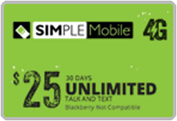 SIMPLE MOBILE Unlimited Nationwide Plan $25